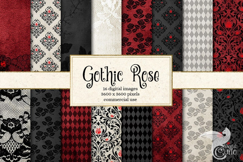 Gothic Rose Digital Paper Rose Lace Black And Red Damask Etsy