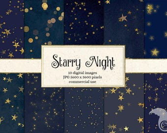 Starry Night Digital Paper Backgrounds, Celestial Digital Paper, Gold Stars Midnight Scrapbook Paper, Star Patterns, Night Sky paper