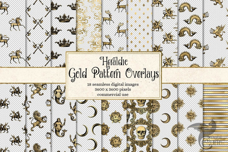 Heraldic Gold Pattern Overlays, seamless patterns, medieval fantasy  transparent PNG overlays, instant download commercial use