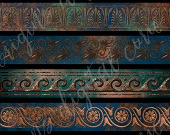 Patina Borders Clip Art, Digital Instant Download copper ornament scrapbooking embellishments, blue and gold Grecian metallic border clipart