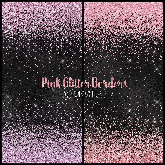 pink glitter borders clipart pink and purple glitter png etsy
