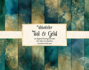 Watercolor Teal and Gold Backgrounds - watercolour paint textures for instant download commercial use
