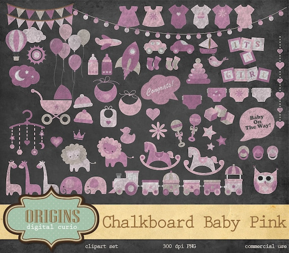 Chalkboard Pink Baby Shower Clipart Girl Colors Jungle Etsy