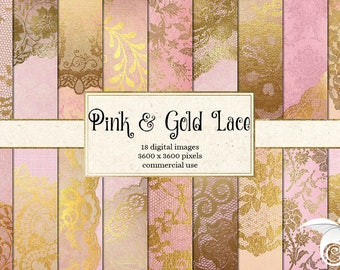 Pink and Gold Lace Digital Paper, lace scrapbook paper, pink and gold wedding backgrounds, printable digital instant download commercial use