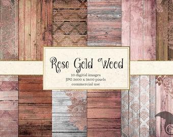 Rose Gold Wood Digital Paper, printable scrapbook paper, rustic wood textures, rose gold backgrounds, scrapbooking digital instant download