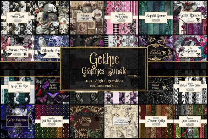 85% OFF Gothic Graphics Bundle, discount clipart and digital paper, digital scrapbooking, vintage ephemera, rustic digital paper photo