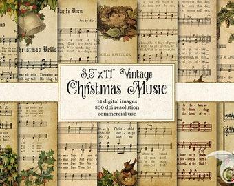 Digital Vintage Christmas Sheet Music 8.5x11 Digital Paper, Scrapbook Paper, Decoupage, antique Victorian Printable Christmas Carols A4