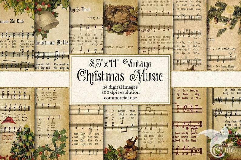 Christmas Music Sheets Printable.Digital Vintage Christmas Sheet Music 8 5x11 Digital Paper Scrapbook Paper Decoupage Antique Victorian Printable Christmas Carols A4