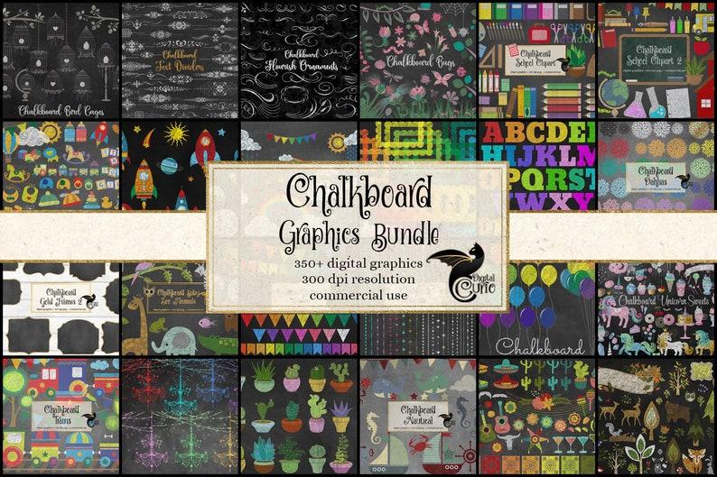 85% OFF Chalkboard Graphics Bundle, discount clipart and textures, digital scrapbooking, chalk clip art, blackboard school rainbow clipart photo