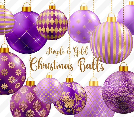 image 0 - Purple And Gold Christmas Tree Decorations