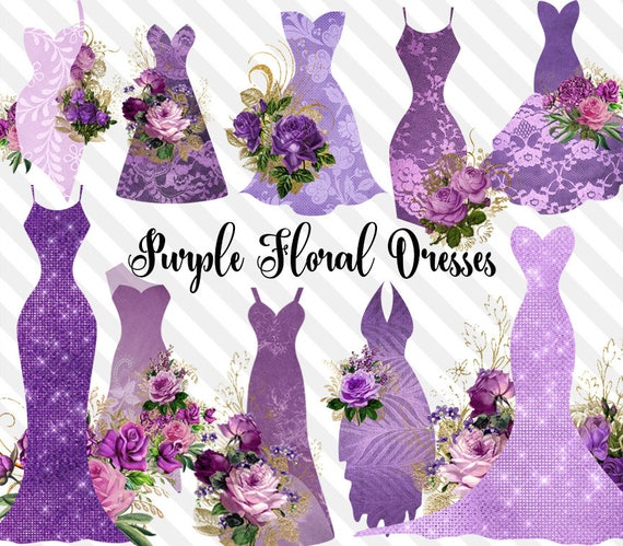 Purple Floral Dresses Clipart Shabby Chic Bridal Gowns