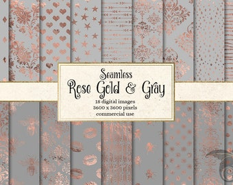 Rose Gold and Gray Digital Paper, seamless rose gold patterns, foil stars, damask, hearts, lips, polka dots, printable paper backgrounds