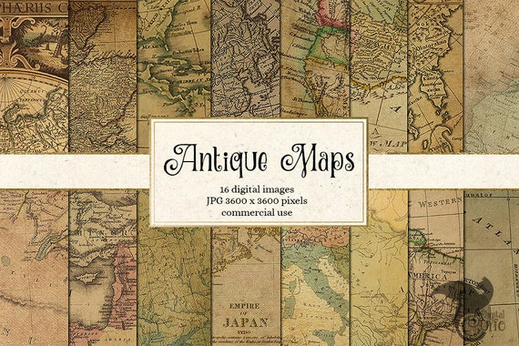 Antique maps digital paper vintage maps world map scrapbook etsy image 0 gumiabroncs Gallery