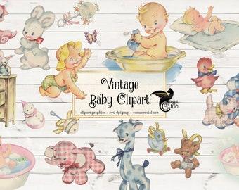 Vintage Baby Clipart, antique baby shower clip art, old illustrations, toy illustrations, vintage baby shower card graphics digital download