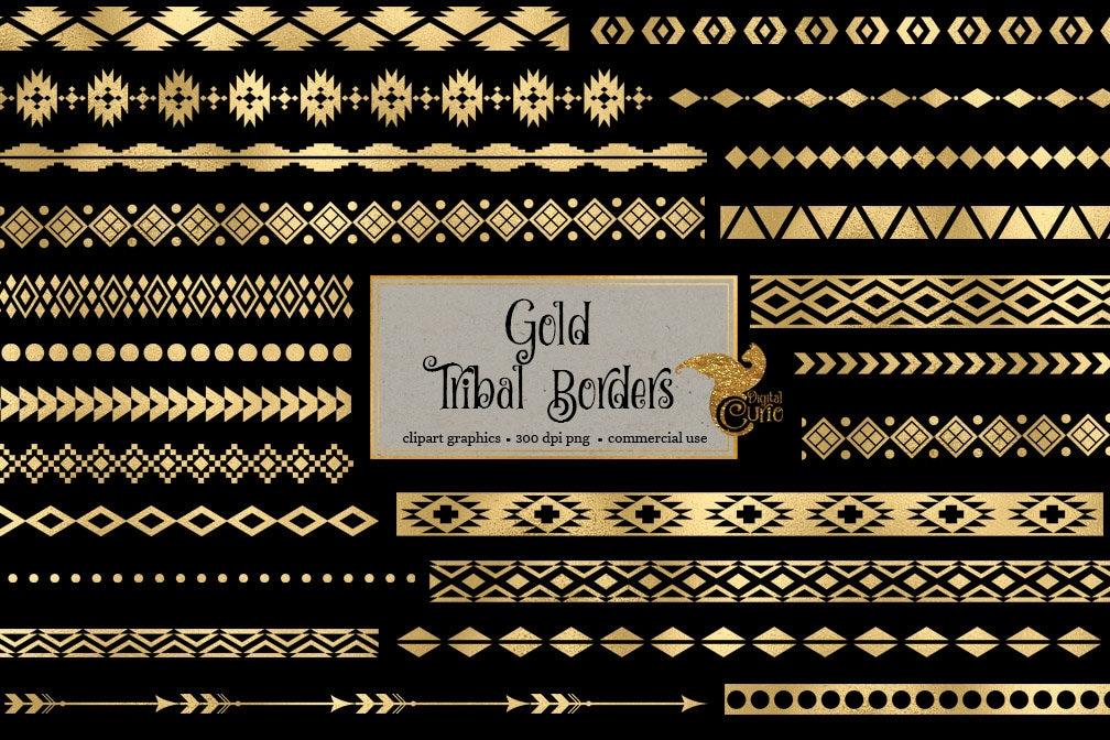 Gold Tribal Grenzen Clipart Rahmen ClipArt Goldfolie Aztec | Etsy