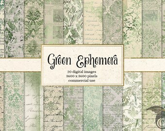 Green Ephemera digital paper, instant download vintage scrapbook paper, old paper textures, decoupage printable digital backgrounds