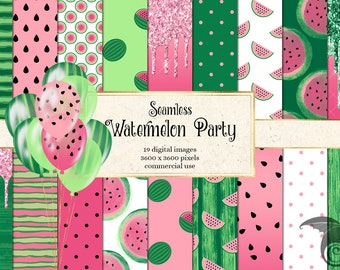 Watermelon Party Digital Paper, seamless watermelon patterns with dripping glitter and watercolor instant download for commercial use