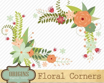 Floral Corners clipart - Flower borders, corners, valentines day Vector, EPS and PNG Love Valentine Wedding Clip art instant download