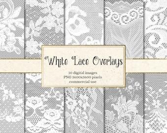 White Lace Overlays, transparent digital paper scrapbooking clip art embellishments, floral shabby lace PNG vintage lace clipart