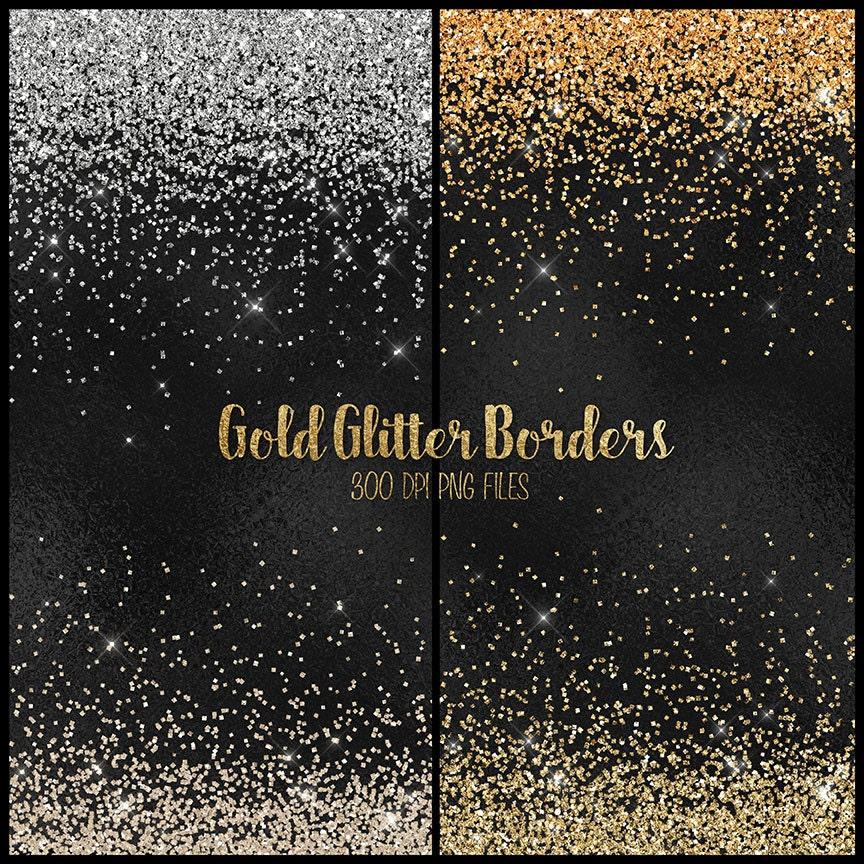 Gold Glitter Grenzen Clipart Silber und Gold glitter Png   Etsy