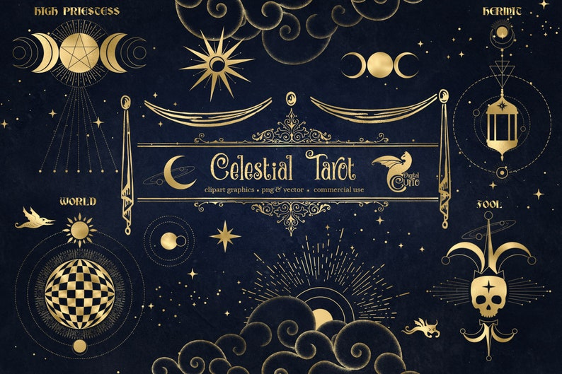 Celestial Tarot Illustrations and Clip Art - vector and PNG images in gold foil to create your own esoteric arcane commercial use designs photo