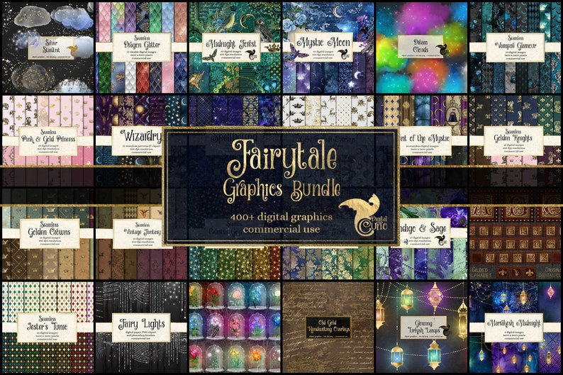 85% OFF Fairytale Graphics Bundle, fantasy Clipart and Textures, digital scrapbooking graphics pack, discount clip art and digital paper photo