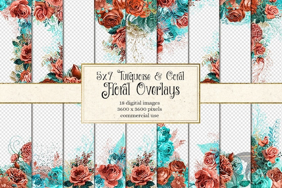 Turquoise And Coral Wedding Invitations: 5x7 Turquoise And Coral Floral Overlays