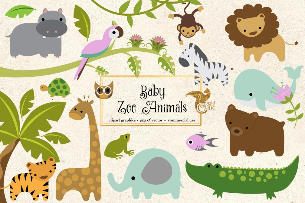 baby zoo animals clipart png and vector clip art set etsy rh etsy com zoo animals clip art black and white zoo animal clip art images