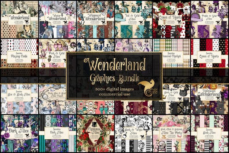 85% OFF Wonderland Graphics Bundle, Vintage Alice Adventures, digital scrapbooking graphics discount clip art and digital paper photo