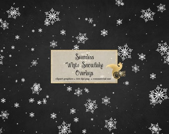 Seamless White Snowflake Overlays, snowflake patterns PNG format with transparent backgrounds instant download commercial use