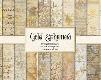 Gold Ephemera digital paper, instant download vintage scrapbook paper, shabby chic old paper textures, decoupage printable backgrounds