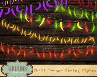 Chili Pepper String Lights Clip Art, fiesta red pepper lights, string lights clipart, chili pepper vectors, party, cinco de mayo clipart