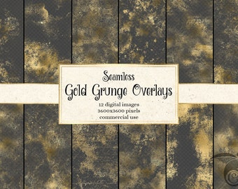Seamless Gold Grunge Overlays, digital gold shimmer distressed gold dust and scratches, instant download commercial use gold PNG clipart