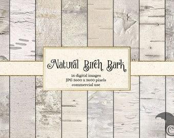 Natural Birch Bark Digital Paper, birch bark textures, white birch tree wedding rustic decor printable scrapbook paper, birch bark textures