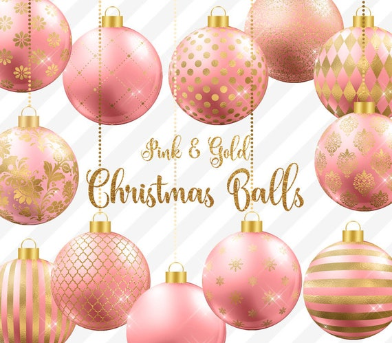 Pink And Gold Christmas Balls Clipart Christmas Baubles Christmas Ornaments Gold And Pink Christmas Tree Decoration Graphics