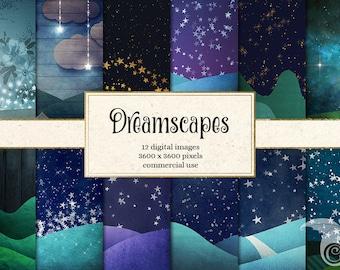 Dreamscapes digital paper backgrounds, fantasy night sky scrapbook paper, landscapes, starry night sky papers, moon, stars dream backgrounds