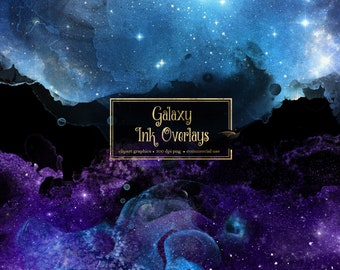 Galaxy Ink Overlays, digital paint overlays, watercolor textures clip art, transparent PNG digital overlays clipart, commercial use