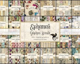Ephemera Graphics Bundle, discount clipart and digital paper, digital scrapbooking, vintage digital ephemera, rustic digital paper