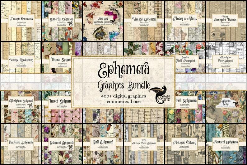 Ephemera Graphics Bundle, discount clipart and digital paper, digital scrapbooking, vintage digital ephemera, rustic digital paper photo