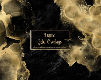 Liquid Gold Overlays, digital paint overlays, gold watercolor textures clip art, transparent PNG digital overlays clipart, commercial use