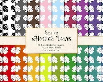 Monstera Leaf digital paper, tropical leaf digital paper, seamless leaf pattern, Hawaiian digital paper, summer backgrounds, tropical leaves