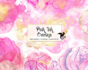 Pink Ink Graphic Elements, ink overlays, paint splatter clipart, paint blob clip art, pink and gold watercolor elements, png art graphics