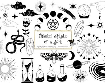 Celestial Mystic Clip Art - digital occult and esoteric Wicca clipart graphics in png format for commercial use