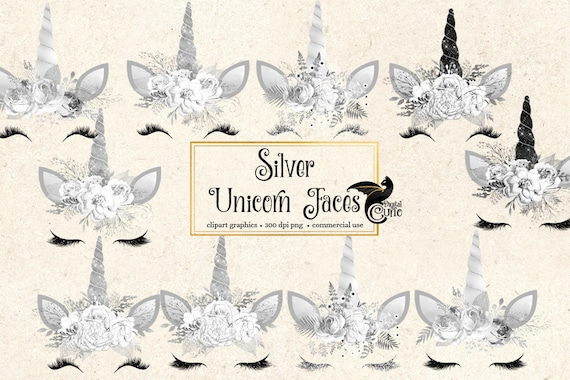 Silver Unicorn Clipart Unicorn Faces Black And White Unicorn Etsy