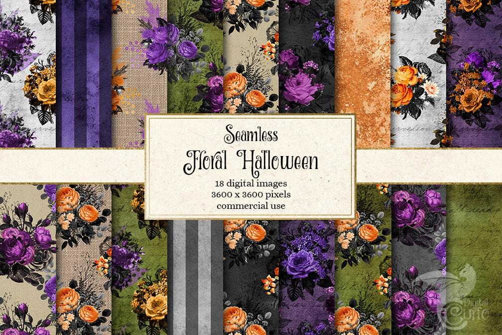 Floral Halloween Digital Paper Rustic Textures