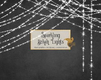 Sparkling Bokeh String Lights Clipart - Digital Overlay PNG Fairy Lights clip art, Christmas Wedding Strands Instant Download