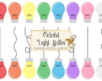 Light Bulb Clipart, colored light bulbs clip art, light bulb vectors, eps, digital printable hanging light bulbs, lightbulb illustrations