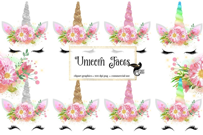 Unicorn Faces Clipart, rainbow, pink and gold watercolor unicorn horn clip art, glitter unicorn graphics, baby shower, weddings photo