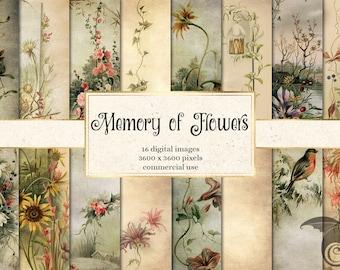 Memory of Flowers Digital Paper, vintage floral printable backgrounds for instant download commercial use
