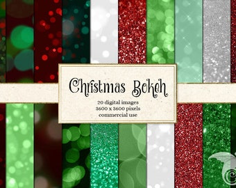Christmas Bokeh and Glitter Digital Paper - Sparkle Backgrounds, Red, Green and Silver Glitter Bokeh Printable Digital Scrapbook Paper